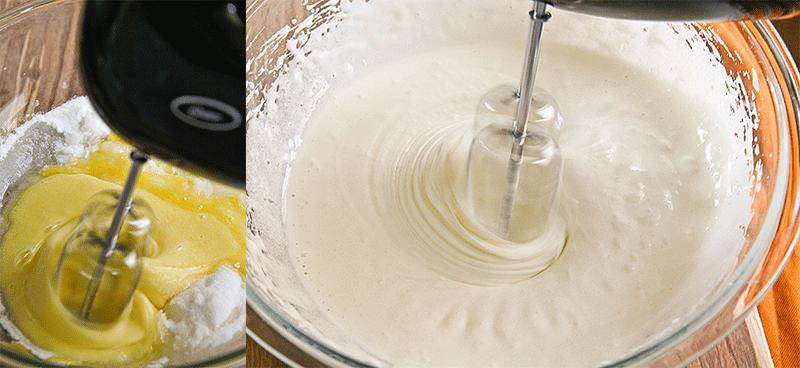 Uova montate con zucchero e farina