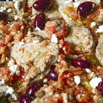 scaloppine alla greca con polpa di pomodoro fresco feta e olive kalamata