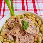 Insalata di ventresca con fagioli cannellini e salsa verde al wasabi