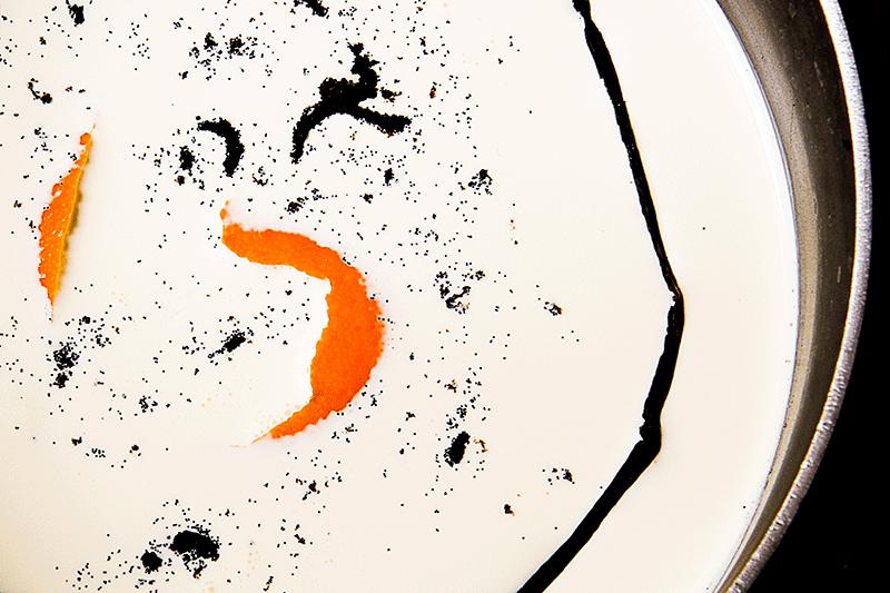latte panna vaniglia e scorza d'arancia