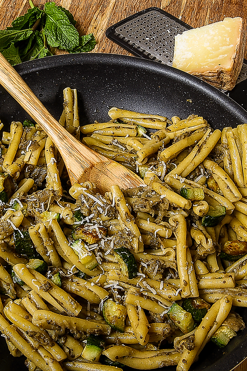 caserecce with eggplant pesto and sauteed zucchini