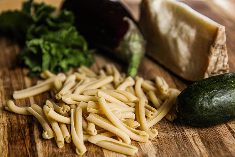 eggplant zucchini caserecce mint and Tuscan pecorino