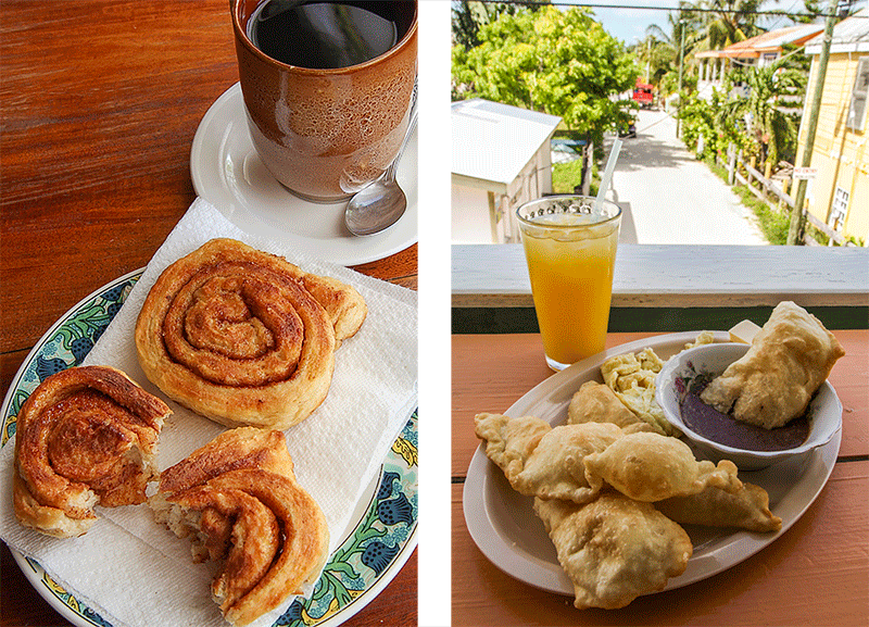 Cinnamon roll e fry jacks a Caye Caulker, Belize